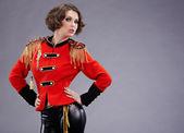 Sexy model wearing glamor uniform — Stock Photo