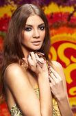 Linda mulher roupa oriental. s de bollywood — Fotografia Stock