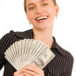 Stock Photo: Beautiful womwith money 6