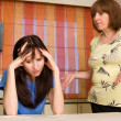 Stock Photo: Conflict between mum and daughter. Series