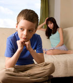 Conflict between mum and the son — Stock Photo