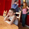 Parents swear, and child worries - Stockfoto