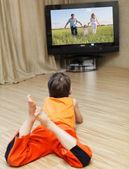 Child watching TV — Stock Photo
