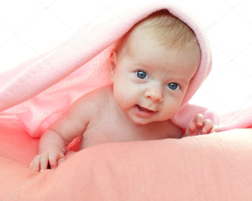 Beautiful baby under pink blanket  Stock Photo #2961083