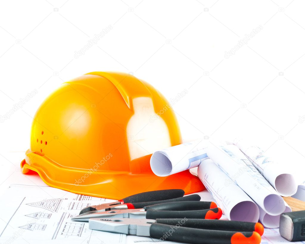 Building projects with architect drawing and protective tools — Stock Photo #2880455