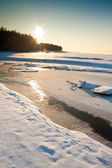 Sea in winter with couds — Stock Photo