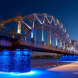 Railway bridge at night — Stock Photo