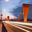 Stock Photo: Cable bridge at evening