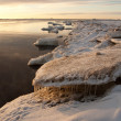 Sea on sunset with icicles — Stock Photo