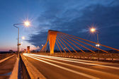 Cable bridge at evening — Stock Photo