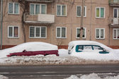 Car in Snowbank — Stock Photo