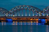 Night river with bridge — Photo