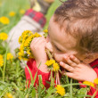 Boy with dandelions — Stock Photo