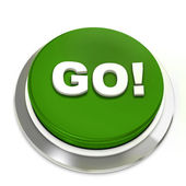 Green button with text Go! — Stock Photo