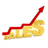 Gold bar graph showing the growth of sales — Stock Photo