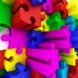 Beautiful colorized Puzzles on white background. - Stock Photo