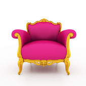 Large image Resolution of Classic glossy pink armchair with gold — Foto Stock