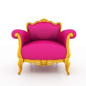 Resolução de imagem grande da clássica poltrona rosa brilhante com ouro — Foto Stock
