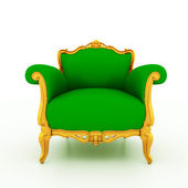 Large image Resolution of Classic glossy green armchair with golden details — Foto Stock