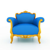 Large image Resolution of Classic glossy blue armchair with golden details, — Photo