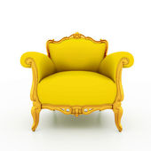 Large image Resolution of Classic glossy yellow armchair with golden detail — Foto Stock