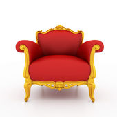 Large image Resolution of Classic glossy red armchair with gold — Foto Stock