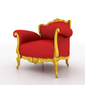 Large image Resolution of Classic glossy red armchair with golde — Stock Photo