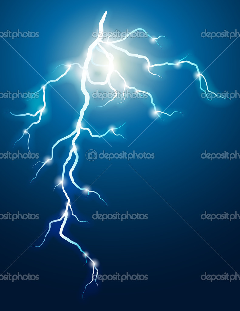 Vector illustration - lightning in the dark sky — Imagen vectorial #3007587