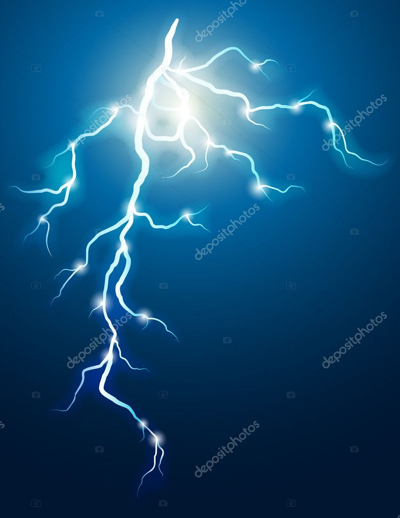 Vector illustration - lightning in the dark sky   #3007587