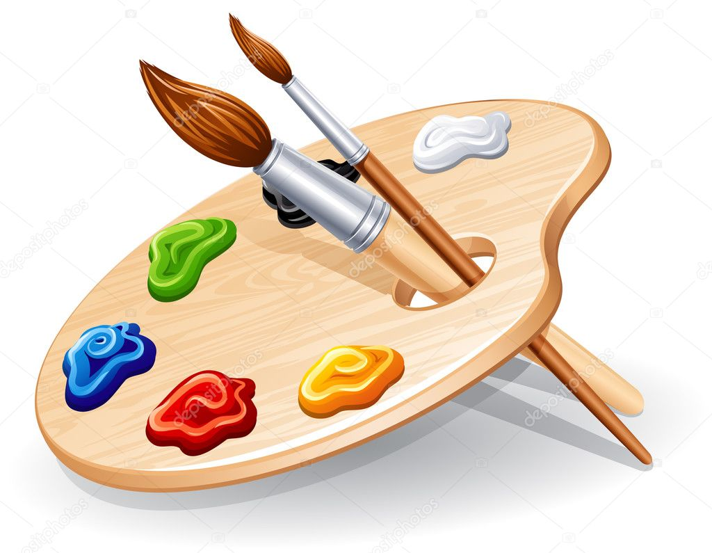 Wooden palette with paints and brushes - vector illustration.  Stockvektor #3121007