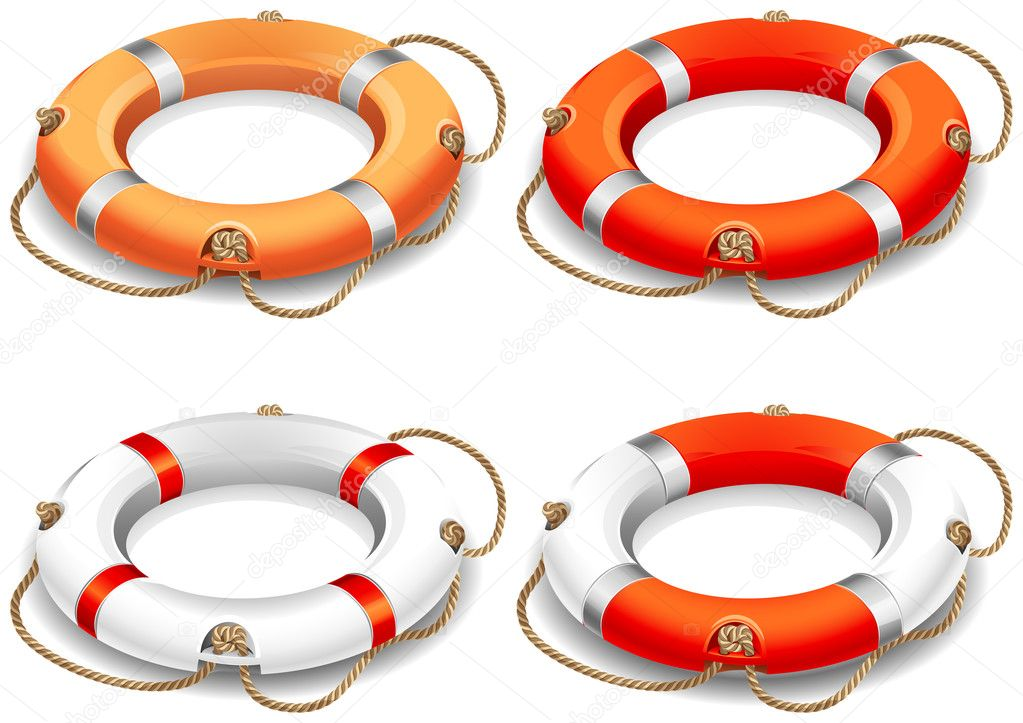 Vector illustration - rescue life belt icons — Stock Vector #3139934