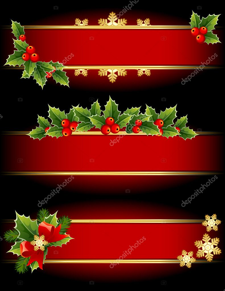 Vector illustration - red and gold  christmas banners  Stock Vector #3153755