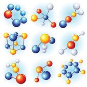Molecule icons — Stock Vector
