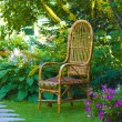 Wicker chair in the garden — Stock Photo