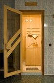 Entrance to the sauna — Stock Photo