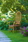 Wicker chair in the garden — Stock Photo