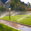Sprinkler of automatic watering in garden - Stock Photo
