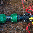 Stok fotoğraf: Comb solenoid valves of automatic irrigation