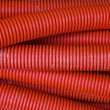 Red corrugated pipe — Foto Stock