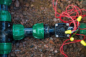 Comb solenoid valves of automatic irrigation — ストック写真