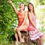 Two laugh teenage girls — Stock Photo