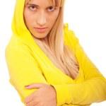 Girl in yellow hood — Stock Photo