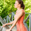 Stock Photo: Girl on bridge