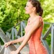 Girl on bridge — Stock Photo