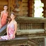 Two beautiful girl near wooden wall — Stock Photo