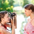 Girl photographer shoot model — Stock Photo #2871549