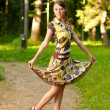 Girl does pirouette - Stockfoto