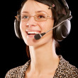 Woman-operator with headphone — Stock Photo #2871690