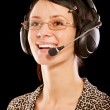 Stock Photo: Woman-operator with headphone