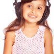 Girl in big ear-phones — Stock Photo